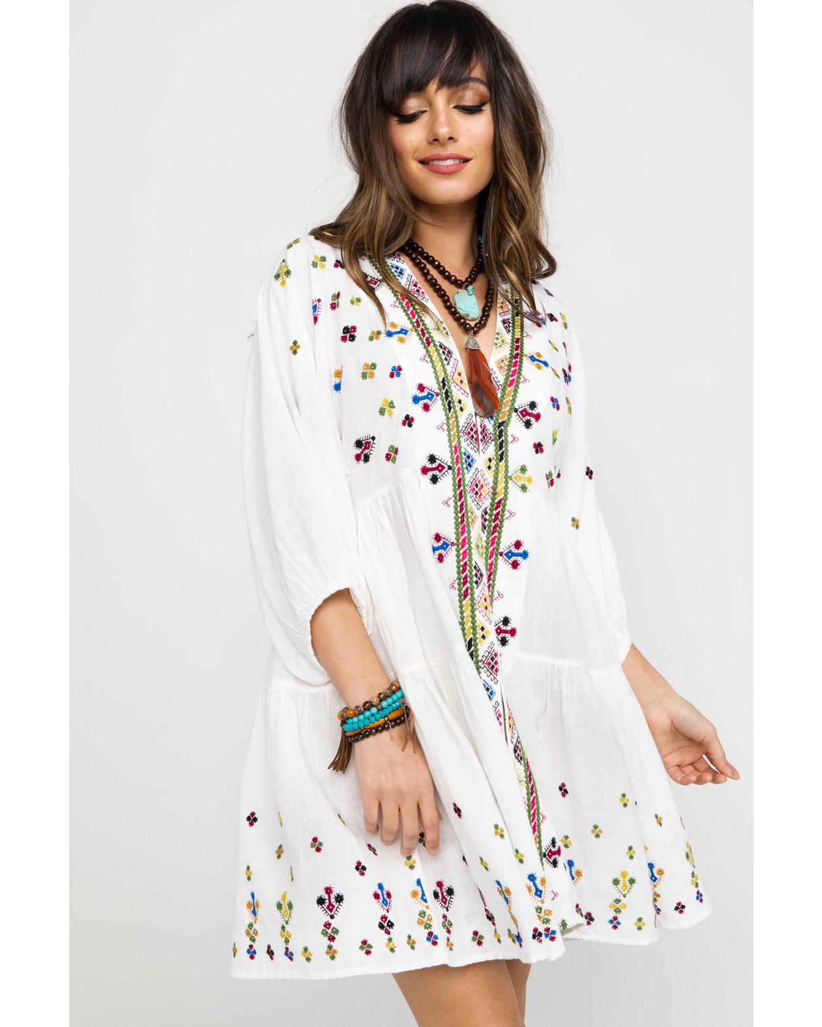 4ee0002021630 Free People Women s Light It Up Embroidered Tunic Top