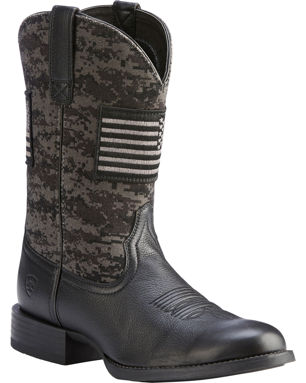 04ebe6bd46111 Zoomed Image Ariat Men's Black Camo Sport Patriot Western Boots - Round Toe  , Black, hi-