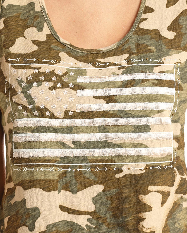 Rock   Roll Cowgirl Women s Camo American Flag Tank  fcebbd5300a