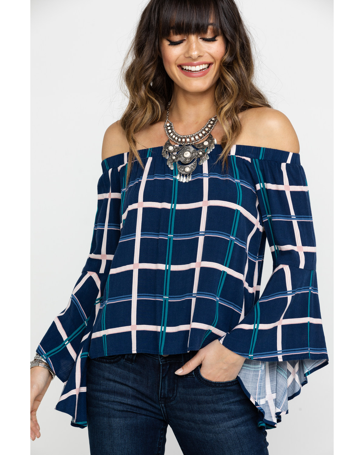 a8c655ab414d Shyanne Women s Navy Plaid Off Shoulder Bell Sleeve Top