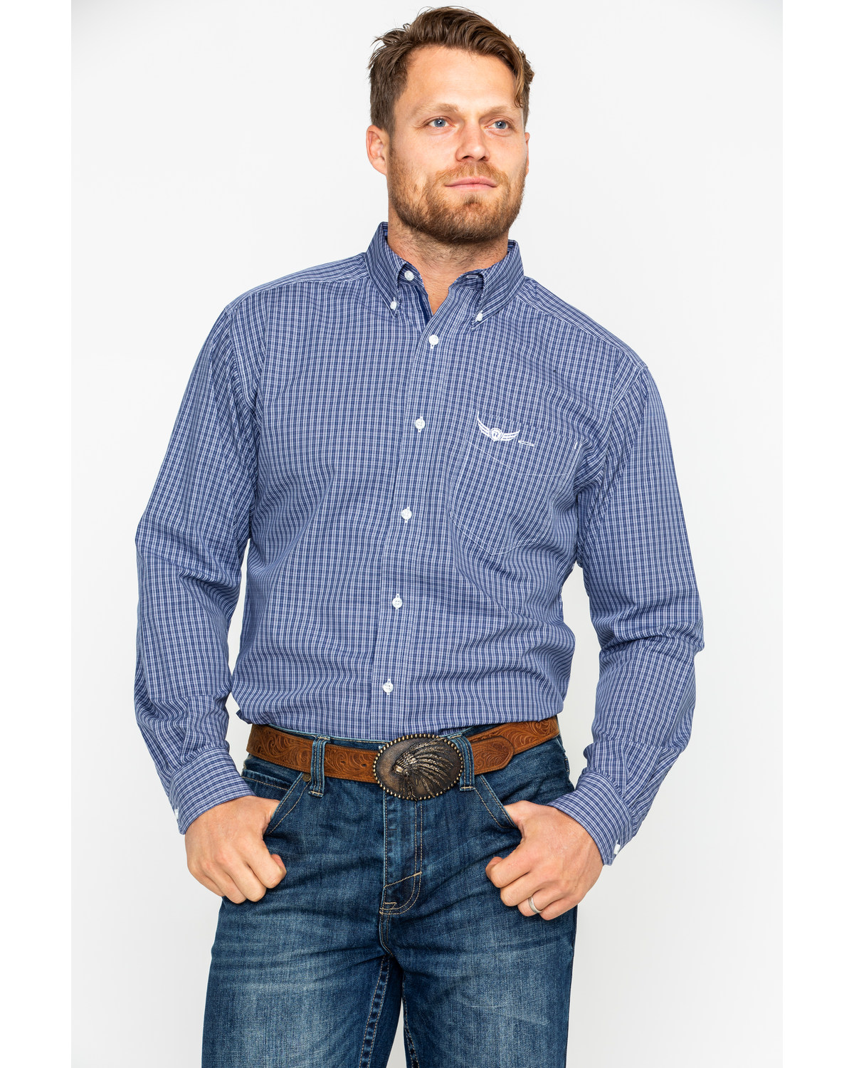 bf375cef2d9 Ariat Men s Honorable Small Plaid Long Sleeve Western Shirt