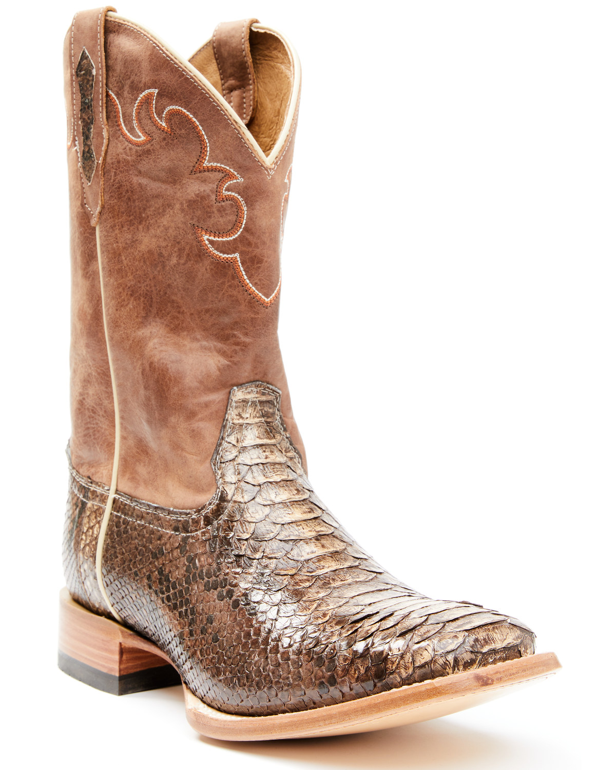 Men/'s Wild West Python Wide Square Toe Boots Handcrafted