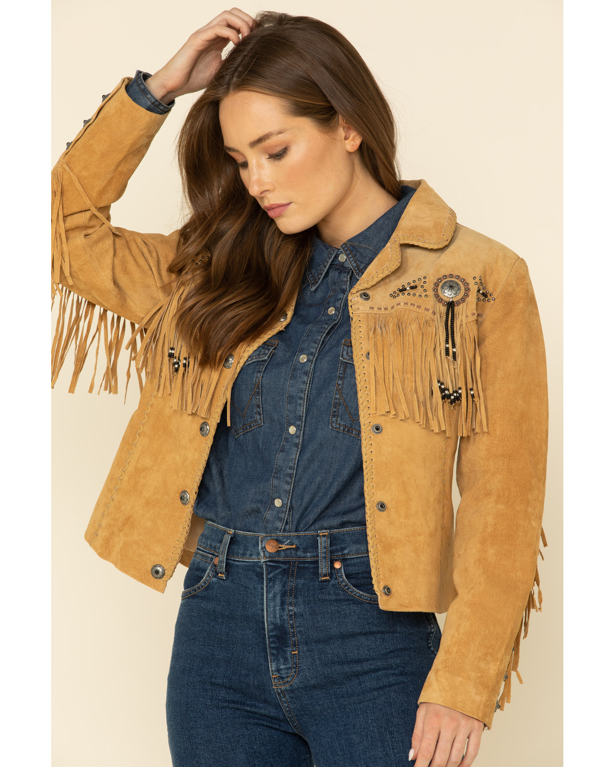 c4a454baa5f9 Scully Women s Suede Leather Fringe Jacket