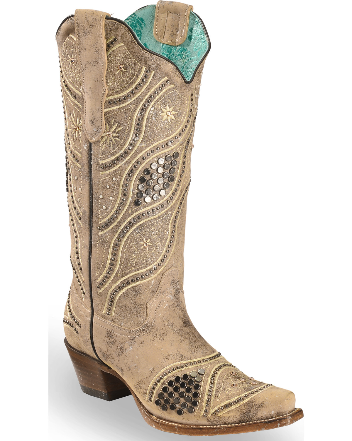 Wedding Cowgirl Boots: Corral Women's Embroidered Studded Bridal Cowgirl Boots