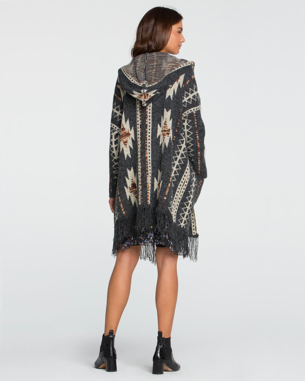 Miss Me Women's Aztec Printed Fringe Hooded Cardigan | Boot Barn
