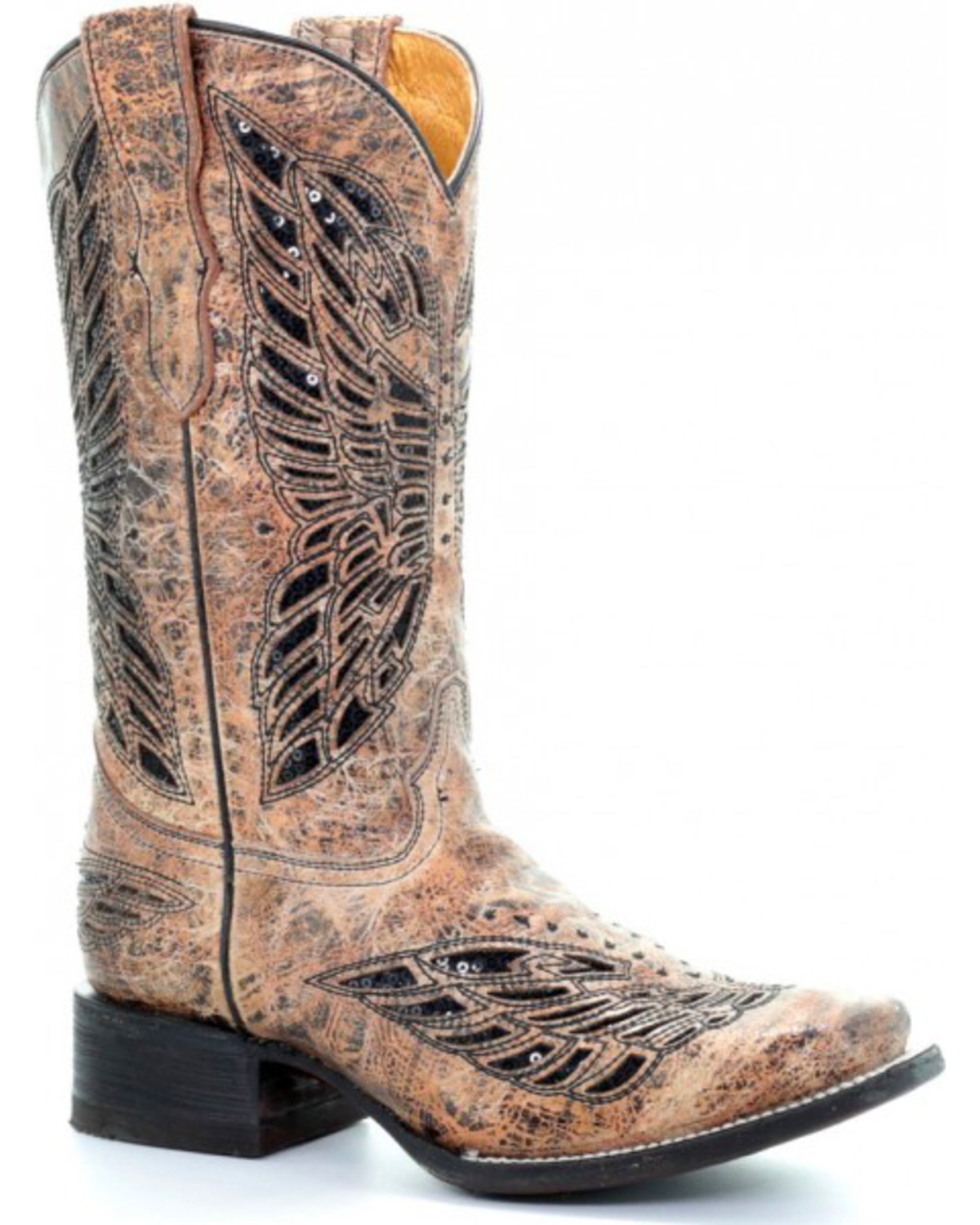 c5e40bf04 Corral Youth Girls  Tan Butterfly Inlay Boots - Square Toe