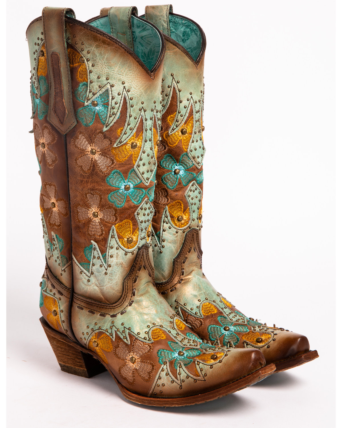 Corral womens mintmaple inlay studded floral embroidered cowgirl corral womens mintmaple inlay studded floral embroidered cowgirl boots snip toe turquoise reviewsmspy