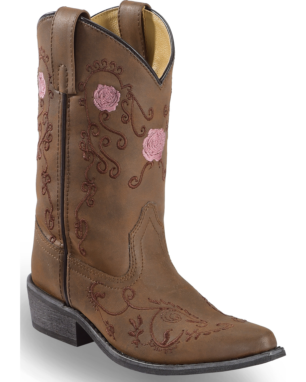 d153afd5f0 Zoomed Image Shyanne Girls' Floral Embroidered Western Boots - Pointed Toe,  Brown, ...