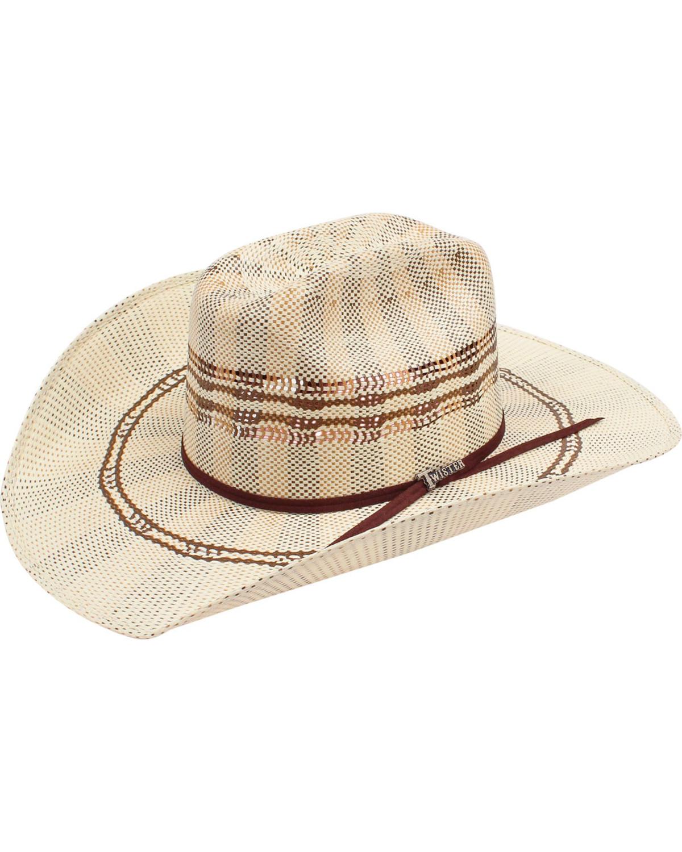 Bangora Straw Hat: Twister Bangora 3-Tone Cattleman Straw Cowboy Hat