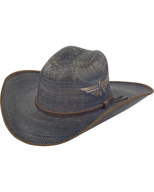 Justin Men s Bent Rail Blue Fenix Straw Cowboy Hat  79f4ef2fef1