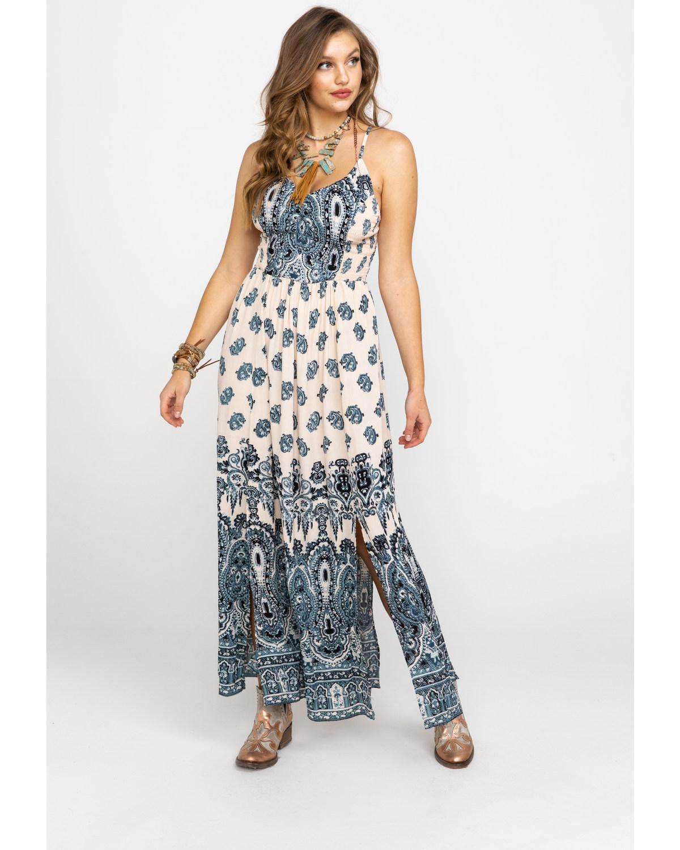 db2a600eb08 Angie Women s Cream   Blue Paisley Print Maxi Dress