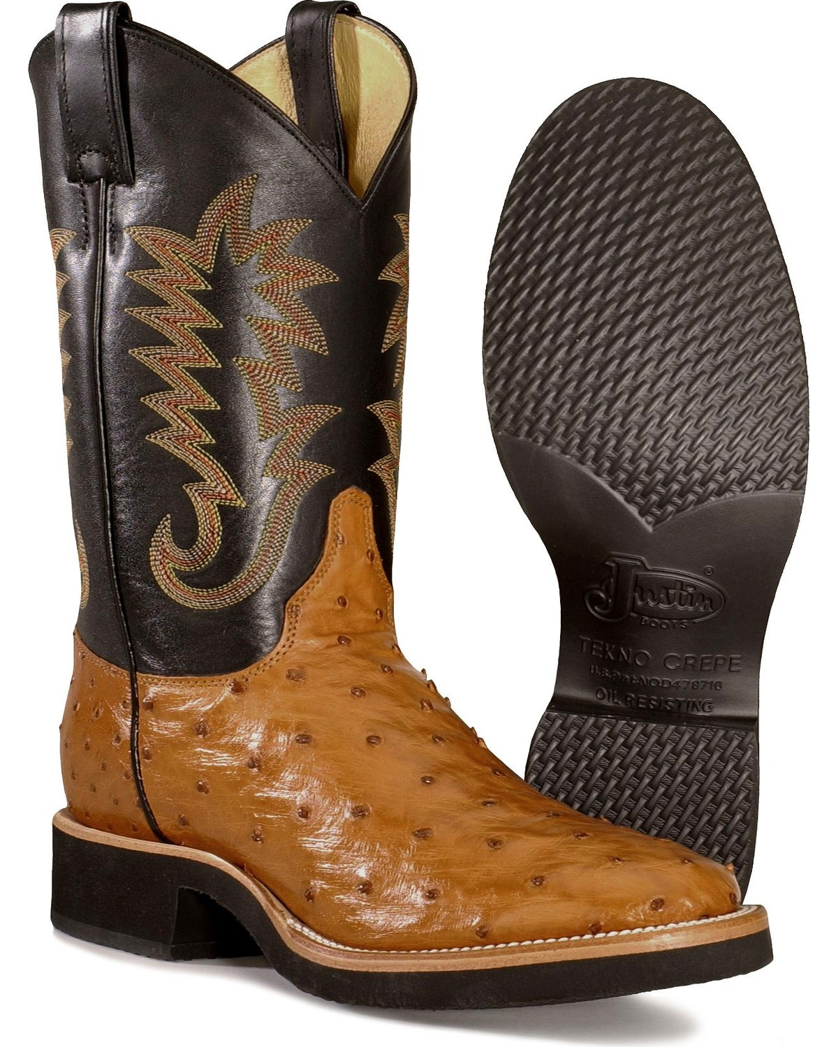 Justin Men S Full Quill Ostrich Western Boots Boot Barn