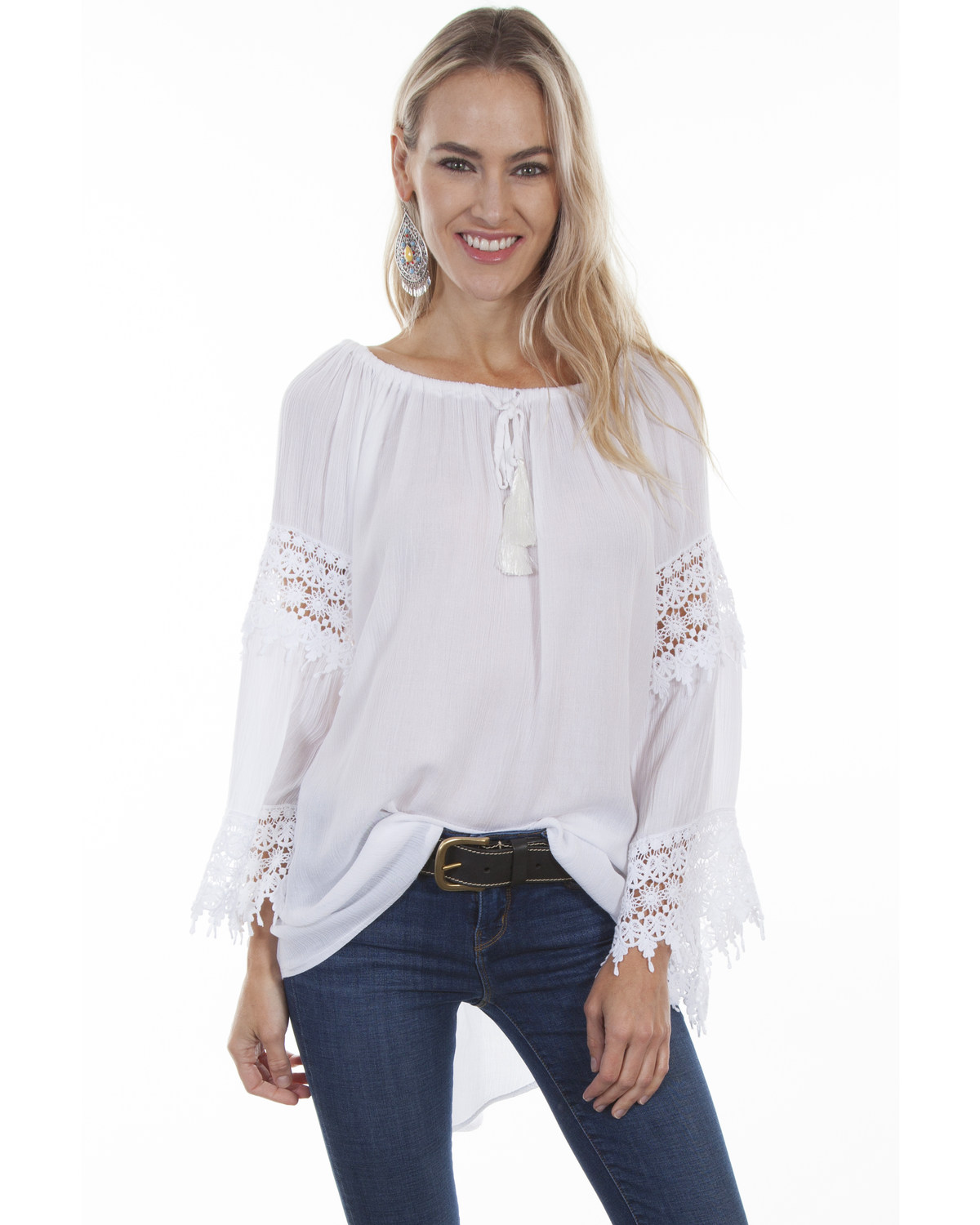 a97e7cfe Zoomed Image Honey Creek by Scully Women's Crochet Lace Long Sleeve Blouse,  White, hi-res