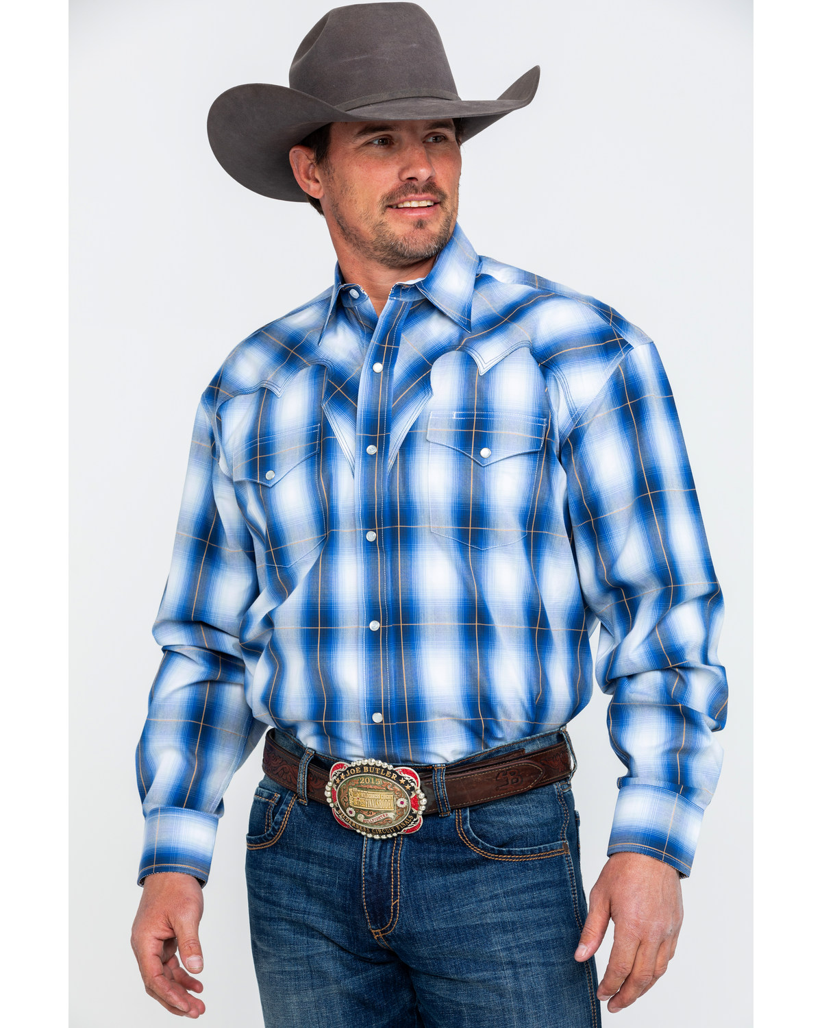 414985cd785bb Stetson Men s Blue Large Plaid Long Sleeve Western Shirt