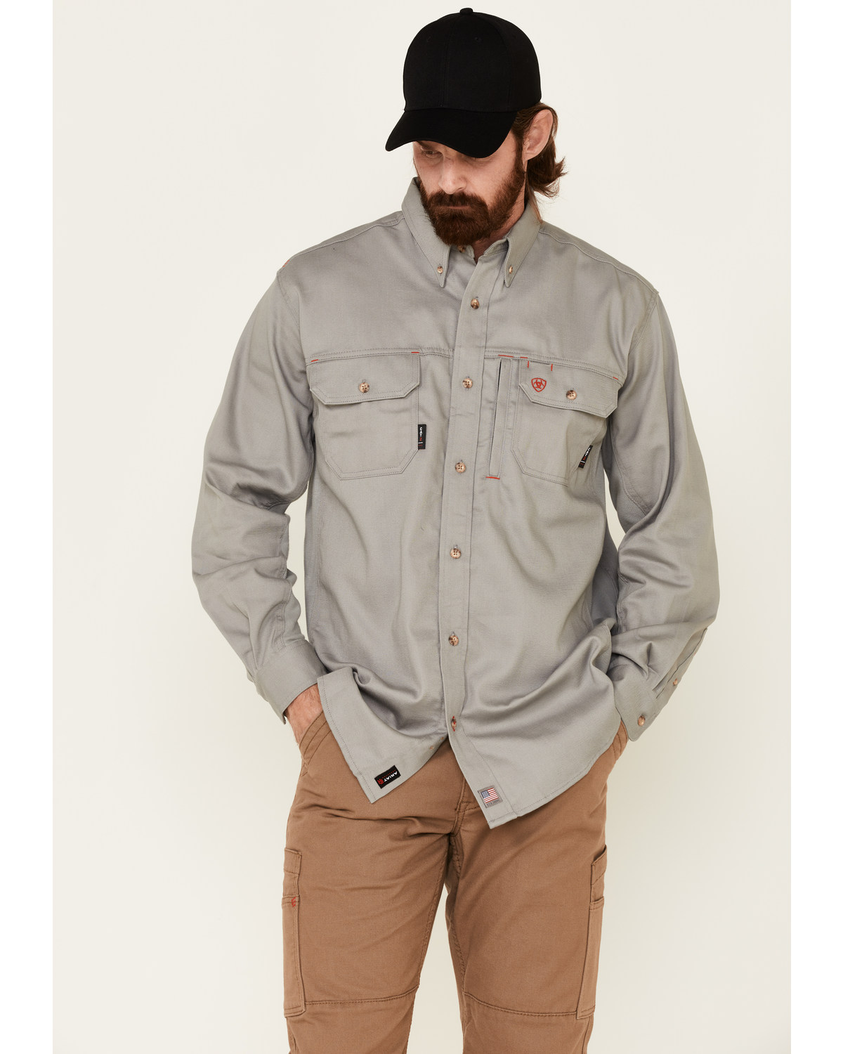 6ab1d4a646f Ariat Men s Fire Resistant Solid Vent Long Sleeve Work Shirt