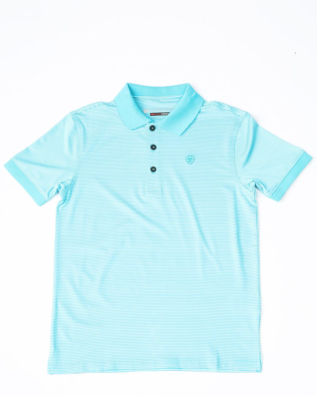 9e1fc02a Zoomed Image Ariat Boys' Stripe Tek Polo Shirt, Turquoise, ...