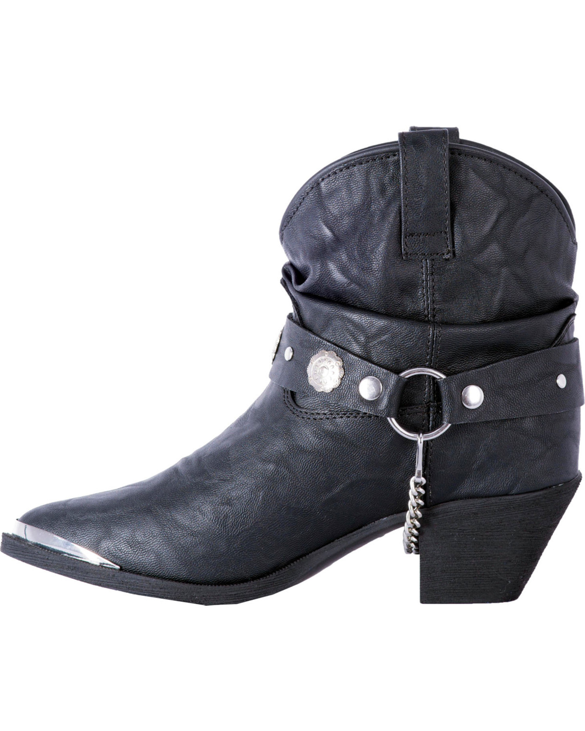 Dingo Women S Black Leather Concho Strap Slouch Booties