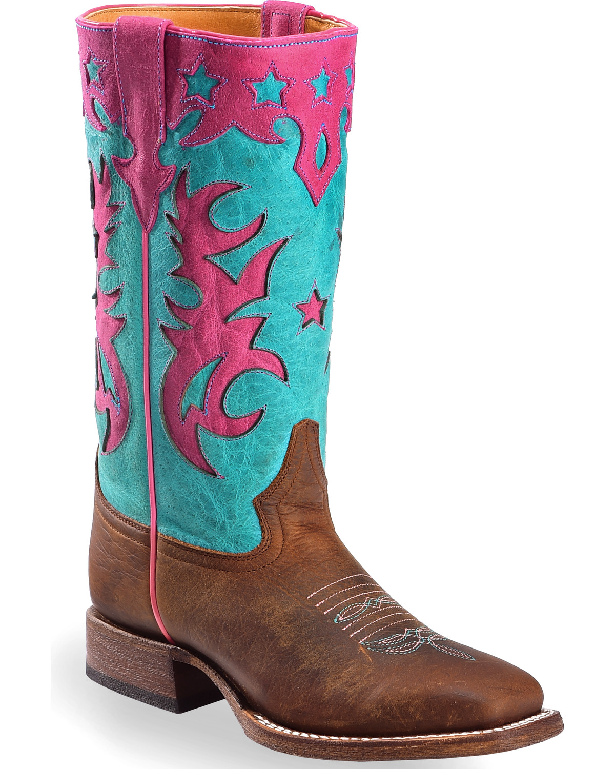27e12c70714 Macie Bean Girls' Turquoise Sinsation Cowgirl Boots - Square Toe