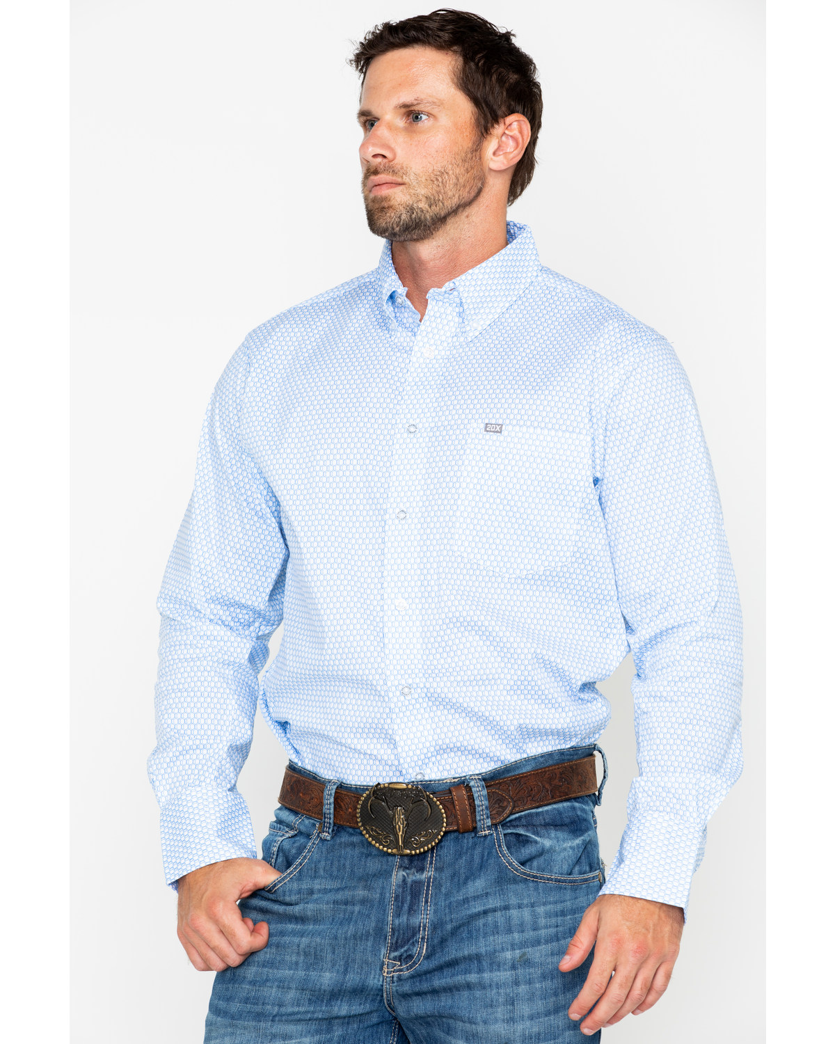 2aeda5cf302a5 Wrangler 20X Men s Periwinkle Performance Long Sleeve Western Shirt ...