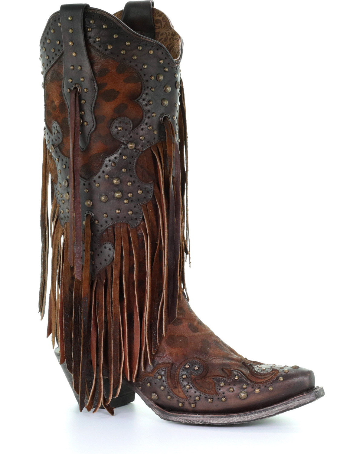 3805f6e6c426 Zoomed Image Corral Women's Leopard Stud & Fringe Cowgirl Boots - Snip Toe,  Honey, ...
