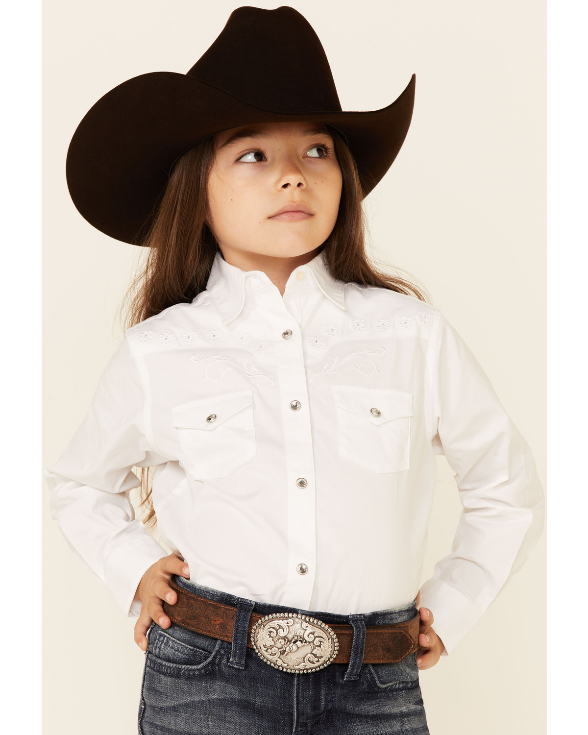 Wrangler Kid S Embroidered Long Sleeve Western Shirt