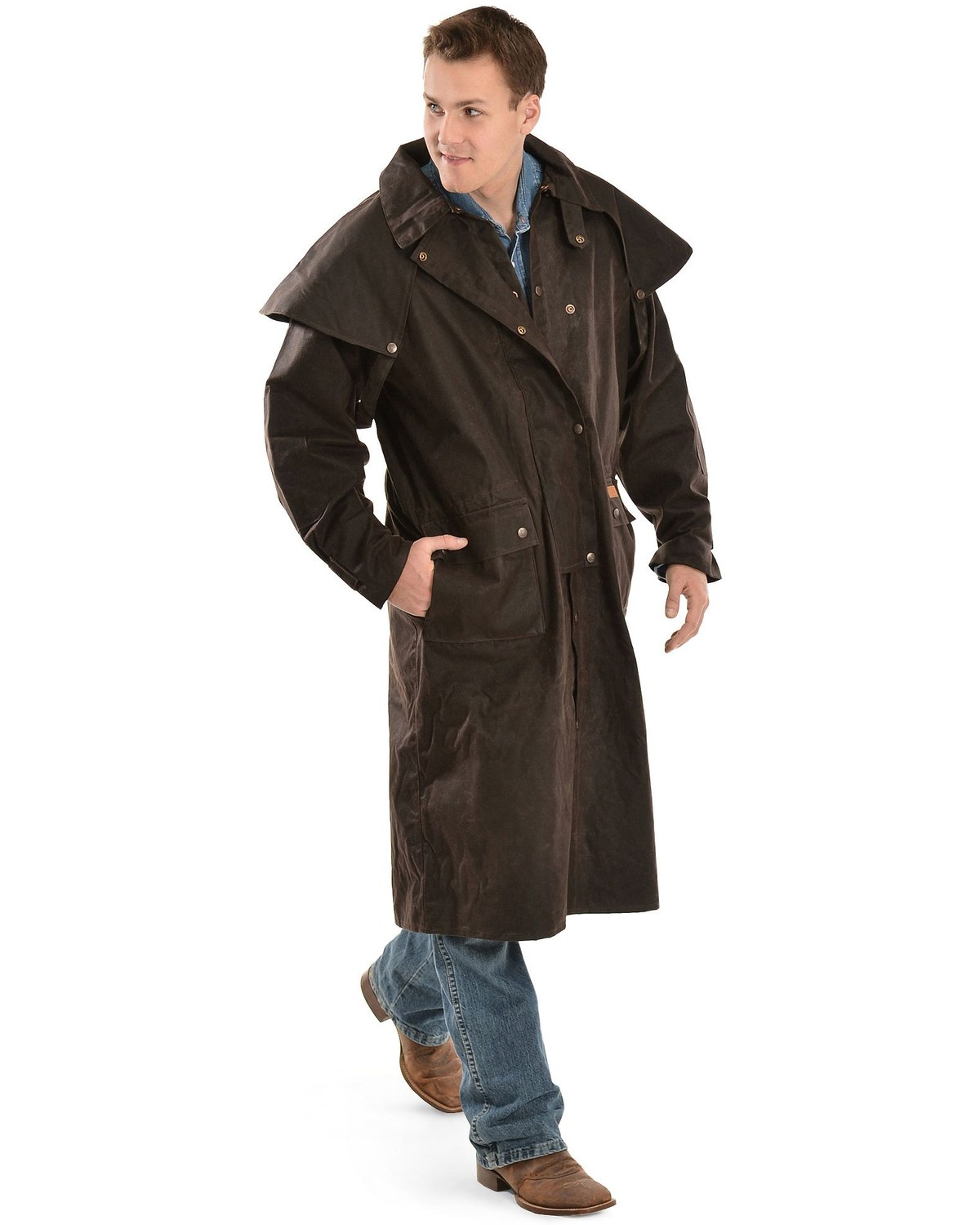 Outback Menu0027s Low Ride Duster Coat, Brown, hi-res