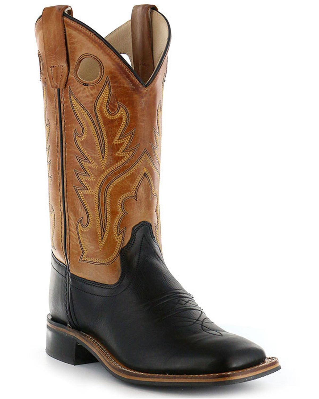 Old West Boys' Black Canyon Tan Cowboy