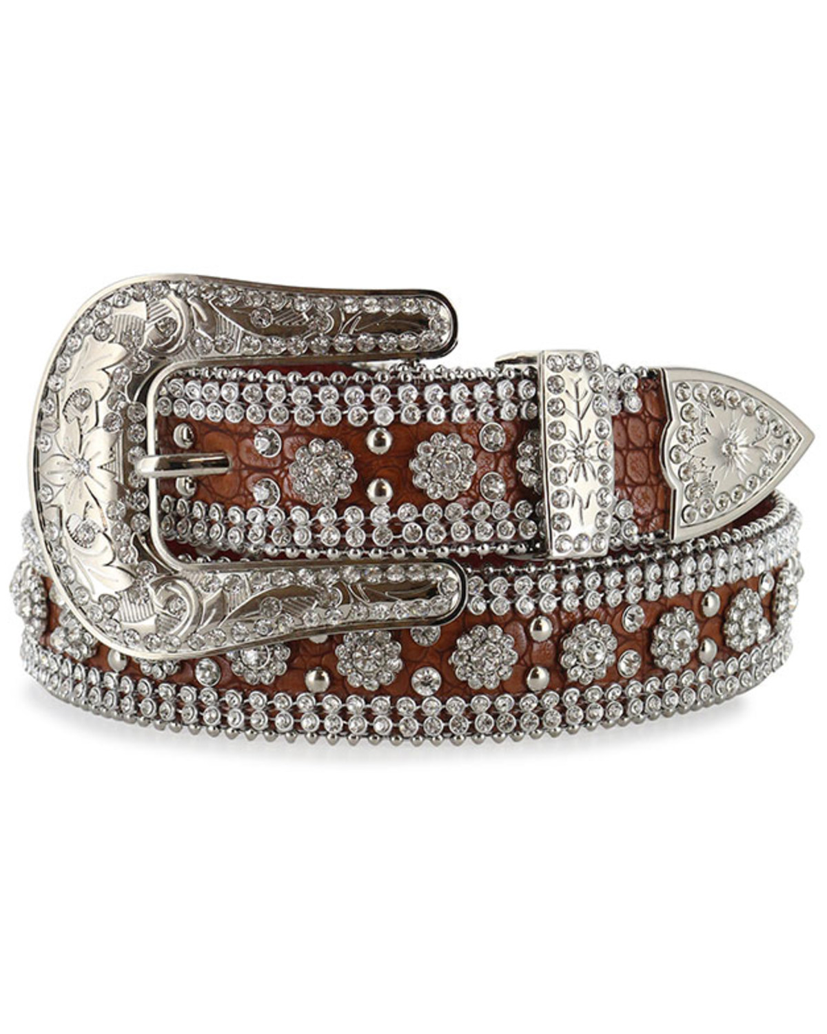 564aa4dfe Zoomed Image Angel Ranch Women's Rhinestone Faux Gator Belt, Brown, ...