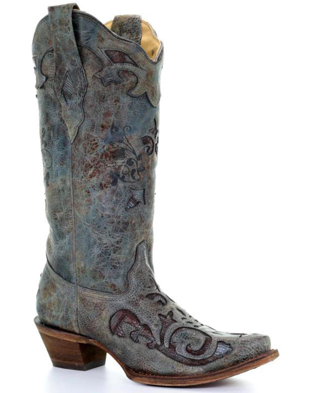60745285c1b Corral Women's Turquoise Teju Lizard Inlay Cowgirl Boots - Snip Toe