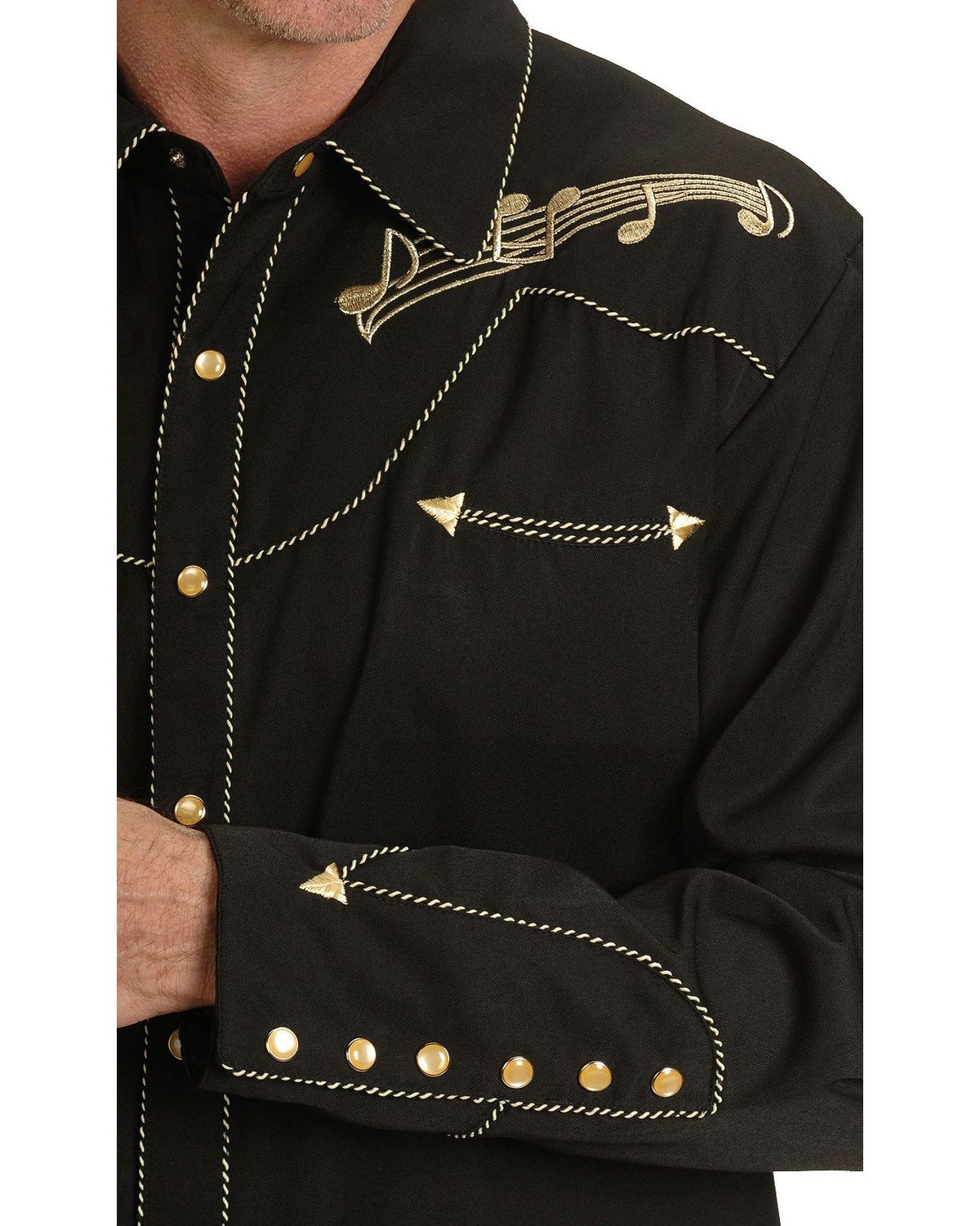 Scully Men S Retro Embroidered Music Note Western Shirt